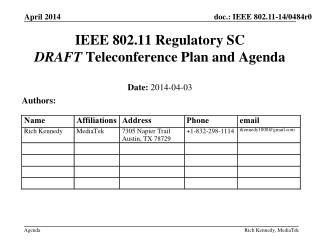 IEEE 802.11 Regulatory SC DRAFT  Teleconference Plan and Agenda