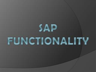 SAP functionality