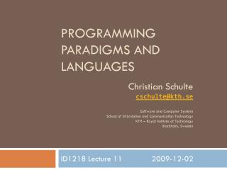 Programming Paradigms And Languages