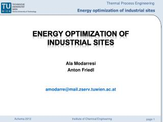 Energy optimization of industrial sites