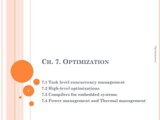 Ch. 7. Optimization