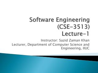 Software Engineering   (CSE-3513) Lecture-1
