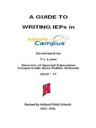 Revised by Holland Public Schools 2012 - 2013