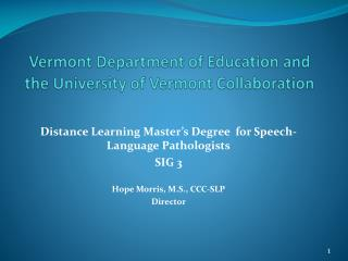 Vermont Department of Education and the University of Vermont Collaboration