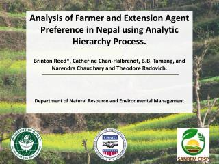 Analysis of Farmer and Extension Agent Preference in Nepal using Analytic Hierarchy Process.