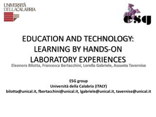 EDUCATION AND TECHNOLOGY: LEARNING BY HANDS-ON LABORATORY  EXPERIENCES