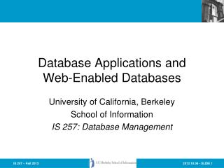 Database Applications and Web-Enabled Databases