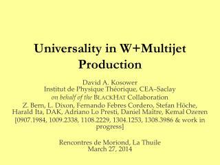 Universality in W+Multijet Production