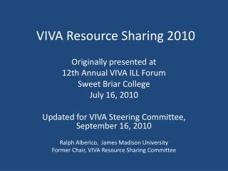VIVA Resource Sharing 2010