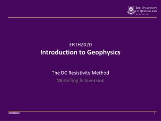 The DC Resistivity Method Modelling & Inversion