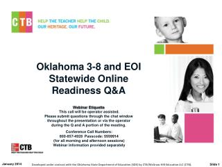 Oklahoma 3-8 and EOI Statewide Online  Readiness Q&A
