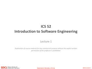 ICS 52 Introduction to Software Engineering