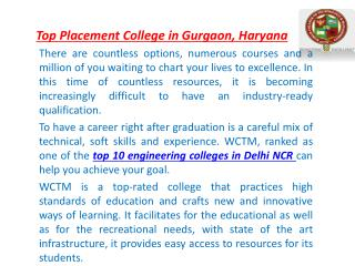 Top Placement College in Gurgaon, Haryana