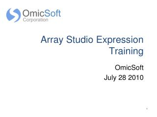 Array Studio Expression Training