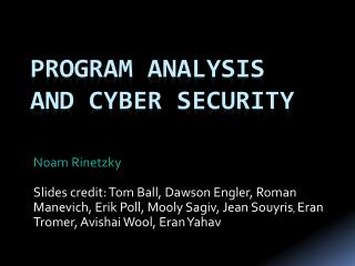 Program Analysis  and Cyber Security