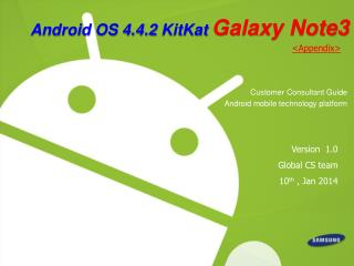 Android OS 4.4.2 KitKat Galaxy Note3