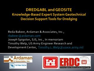 DREDGABL and GEOSITE  Knowledge-Based Expert System Geotechnical Decision Support Tools for Dredging