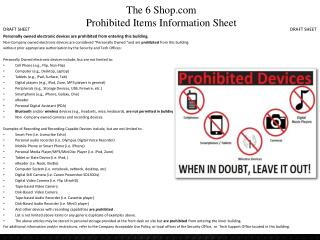 The 6 Shop.com Prohibited Items Information Sheet