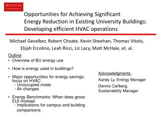 Opportunities for Achieving Significant Energy Reduction in Existing University Buildings: Developing efficient HVAC ope
