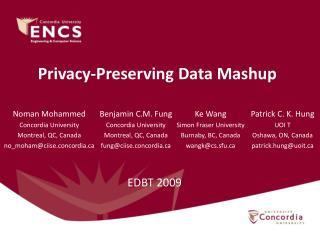 Privacy-Preserving Data Mashup