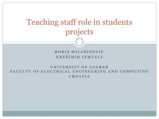 Teaching staff role in students projects