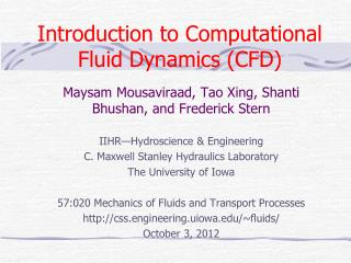 Introduction to Computational Fluid Dynamics (CFD)