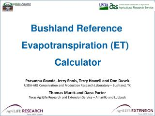 Bushland  Reference  Evapotranspiration (ET)   Calculator