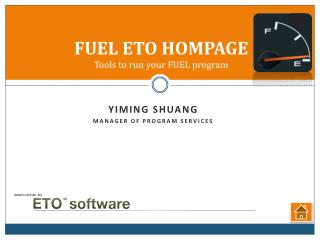FUEL ETO HOMPAGE Tools  to run your FUEL program