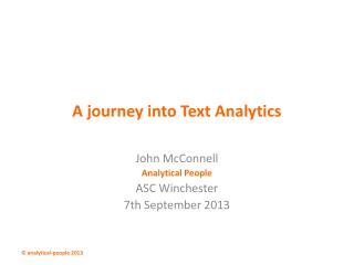 A journey into Text Analytics