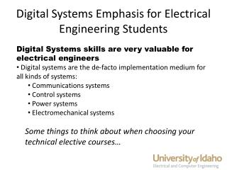 Digital Systems Emphasis for Electrical Engineering Students