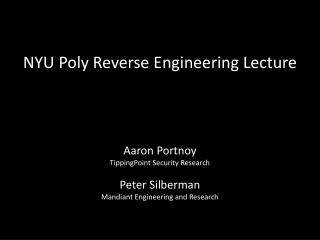 NYU Poly Reverse Engineering Lecture