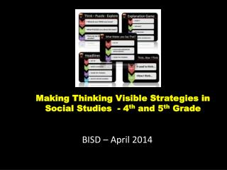Making Thinking Visible Strategies in Social Studies  - 4 th  and 5 th  Grade