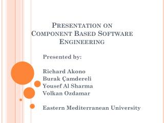 Presentation on  Component Based Software Engineering