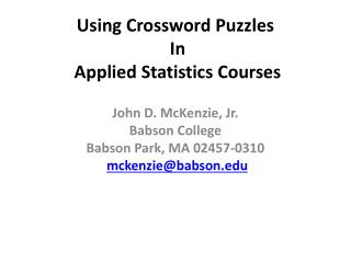 Using Crossword Puzzles  In Applied  Statistics Courses