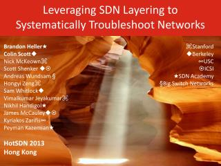 Leveraging SDN Layering to Systematically Troubleshoot Networks