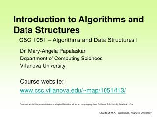 CSC 1051 – Algorithms and Data Structures I