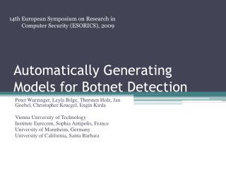 Automatically Generating Models for  Botnet  Detection