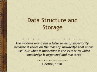 Data Structure and Storage