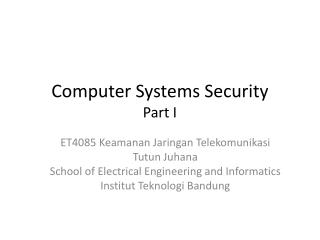 Computer  Systems  Security Part I