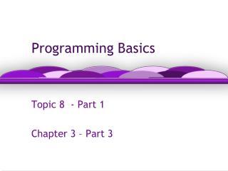 Programming Basics