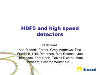 HDF5 and high speed detectors