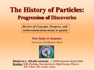 The History of Particles:  Progression of Discoveries