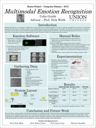 Senior Project –  Computer Science  –  2013 Multimodal Emotion Recognition Colin Grubb Advisor – Prof.  Nick Webb