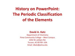 History on PowerPoint: The Periodic Classification of the Elements