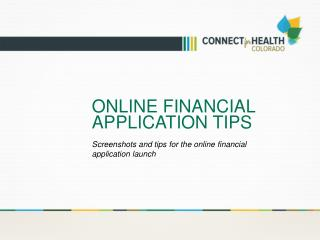 Online Financial application tips