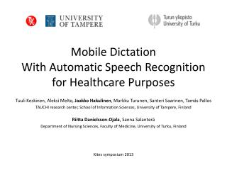 Mobile  Dictation With  Automatic Speech Recognition  for Healthcare  Purposes