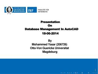 Presentation           On             Database Management In  AutoCAD           18-06-2014
