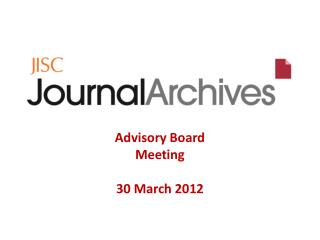 Advisory Board Meeting 30 March 2012