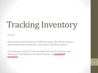 Tracking Inventory