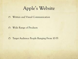 Apple's Website